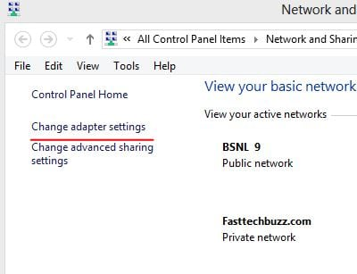 Network and sharing center in windows 8