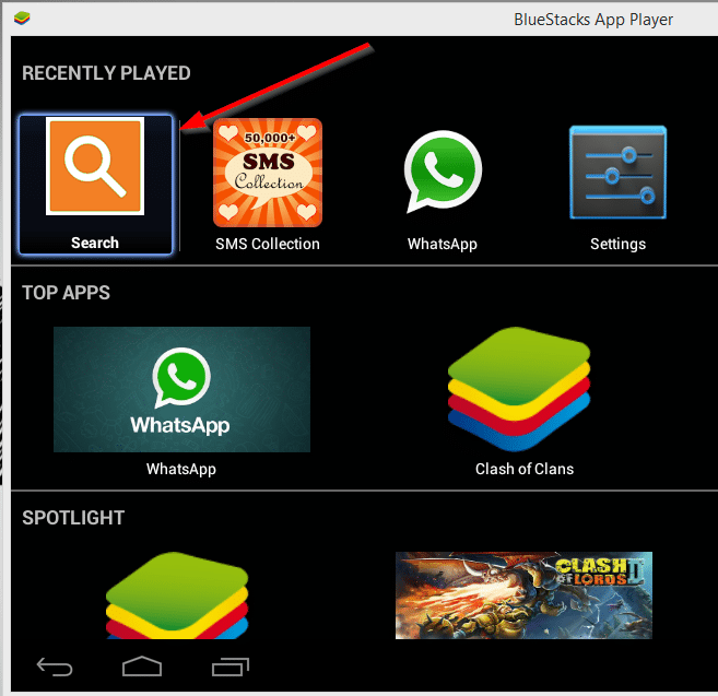search in bluestacks