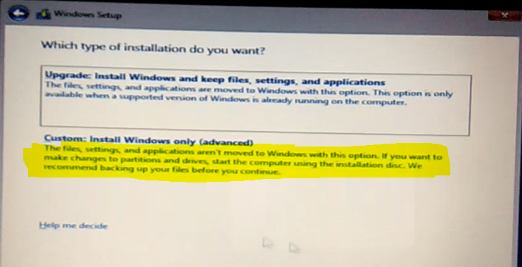 custom install windows 10