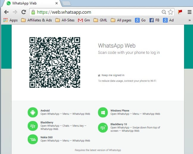 Whatsapp web on Google chrome