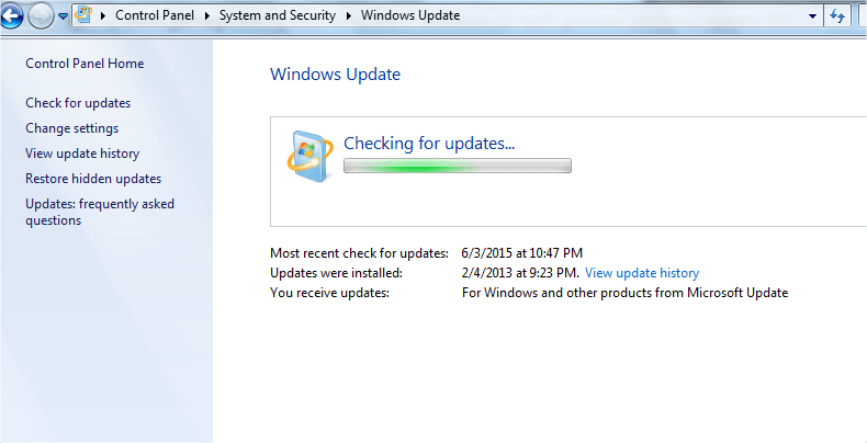 windows 10 updates checking