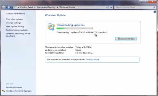 upgrade to windows 10 updates downloading