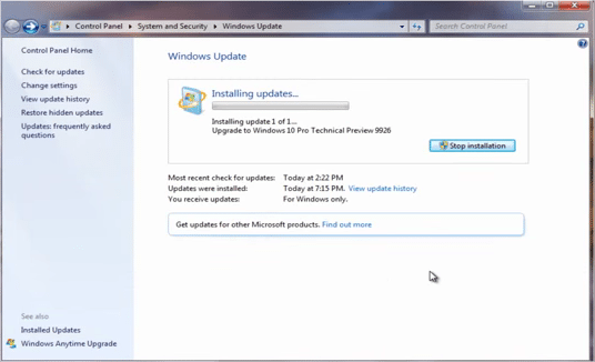 windows 10 installing updates