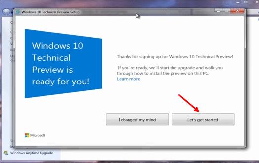 start upgrade to windows 10