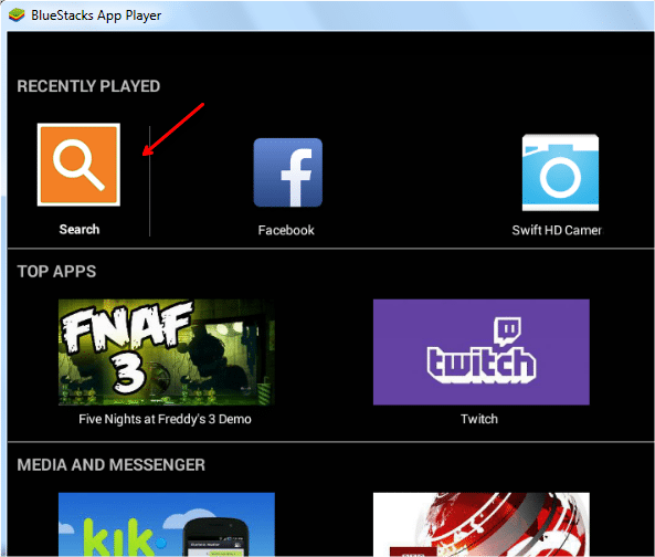 search button in bluestacks
